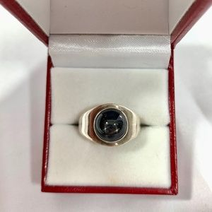 Vintage Sterling Silver Black Star Stone Ring